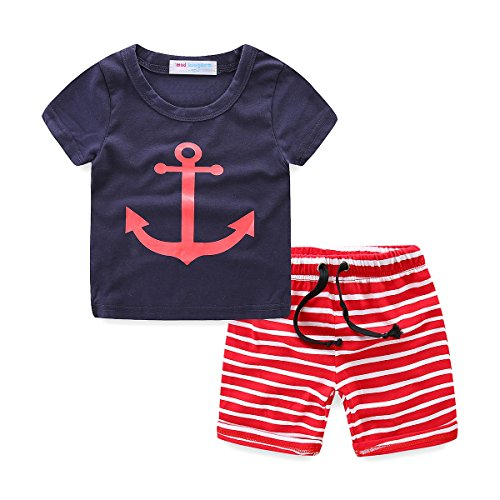 LittleSpring Little Boys' Clothing Short Sets Striped Size 12M(tag80) Navy