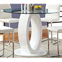 Furniture of America Quezon Round Glass Top Pedestal Pub Table, White