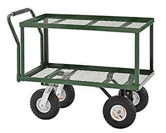 "Sandusky TW3820 Green Heavy Duty Steel 2-Deck Flat Wagon, 550 lb. Capacity, 33"" Height x 38"" Length x 20"" Width"