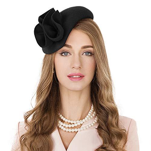 Flower Womens Dress Fascinator Wool Felt Fedora French Pillbox Hat Party Wedding (Black 3)