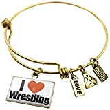 Expandable Wire Bangle Bracelet I Love Wrestling - NEONBLOND