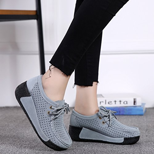 Z.SUO Women's Casual Comfortable Suede Loafers Wedge Thick Heel Pumps Shoes Gray LPrLchuRI