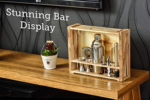 Mixology Bartender Kit: 11-Piece Bar Tool Set with Rustic Wood Stand - Perfect Home Bartending Kit and Cocktail Shaker Set For an Awesome Drink Mixing Experience - Exclusive Cocktail Recipes Bonus by Mixology & Craft (Image #4)