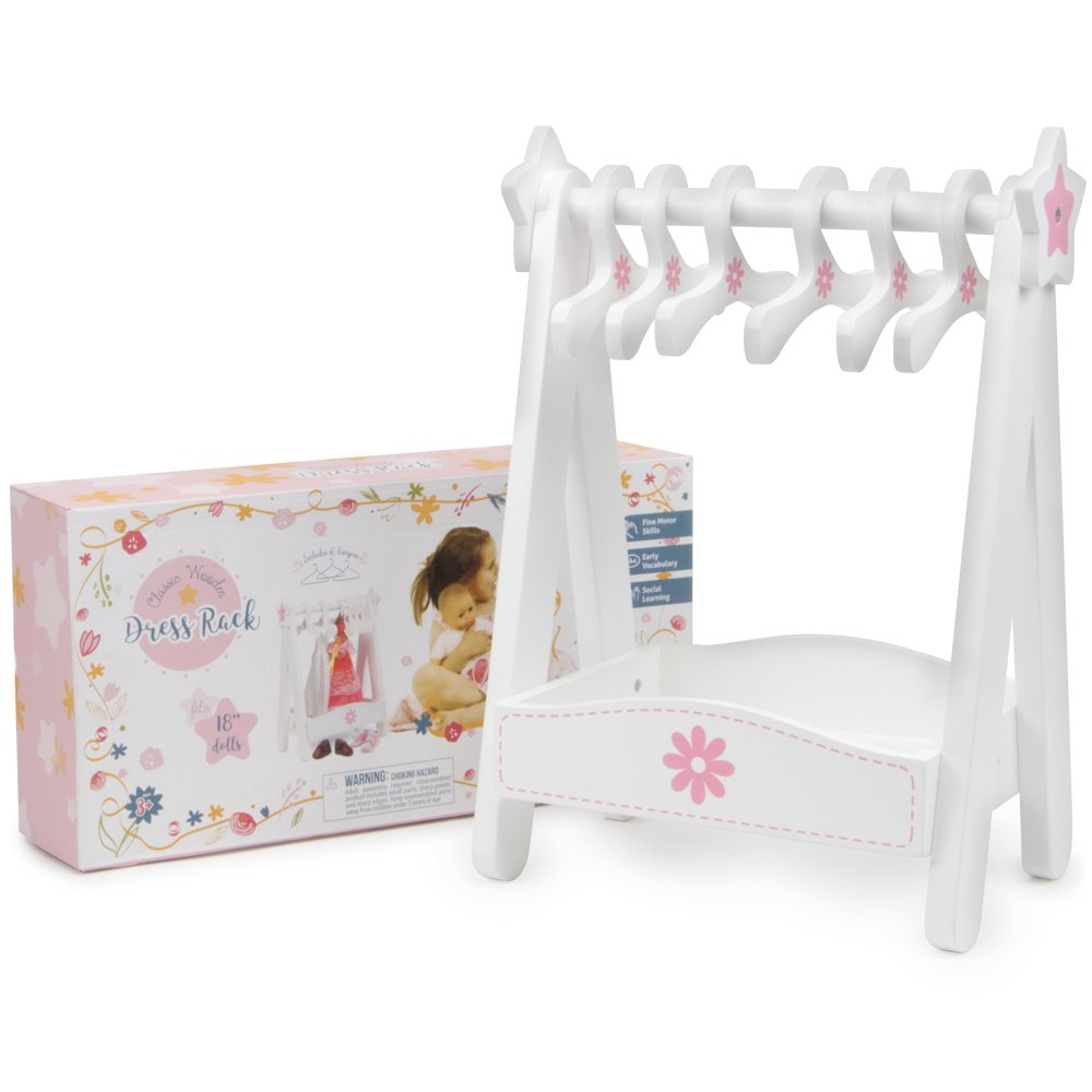 Deluxe Wooden Doll Dress Rack - Large 15 x 11 Inch Size!