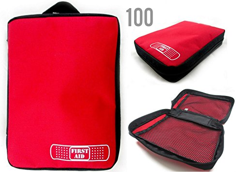 Value Set 100 Excellent Quality ALAZCO First Aid Kit Empty Storage Bag For Sports Team, Church Group Trip, Camping Survival Emergency / Diabetic Supplies Hiking Travel Gym Car RV Boat