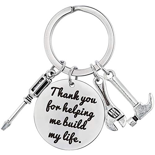 XGAKWD Fathers Day Gifts from Daughter Son, Wedding Birthday Keychain Gift for Step Dad Papa, Thank You for Helping Me Build My Life]()