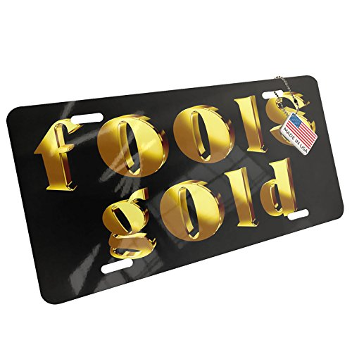 Metal License Plate Fools Gold Printed Gold looking Lettering - Neonblond