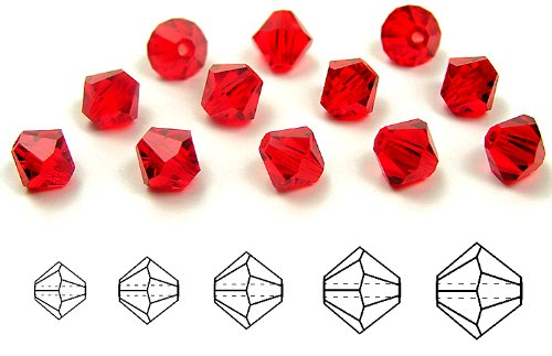 8mm Light Siam, Czech MC Rondell Bead (Bicone, Diamond Shape), 12 pieces