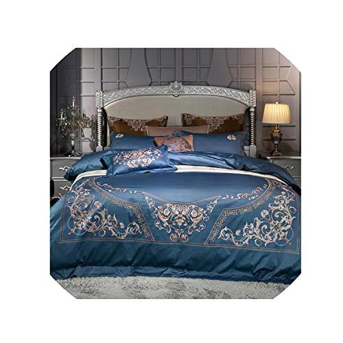 4Pcs High Tc Cotton Classic Luxury Bedding Set Embroidery Duvet Cover Set Bed Sheet Pillowcases Queen King Size,Fsj1,King Size 4Pcs
