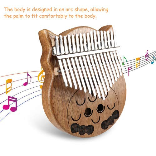 Owl Kalimba Thumb Piano 17 Keys Thumb Instrument with Number Sticker, Tuning Hammer, Protective Box and Cleanning Cloth by Caiyuangg (Image #6)