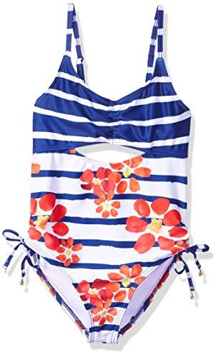 Jantzen Big Little Girls NEO Nautical Cut Out Floral Swimsuit, Stripe, 10