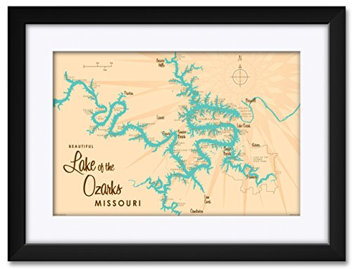 Print Framed Lake (Lake of The Ozarks Map Framed & Matted Art Print by Lakebound Print Size: 12