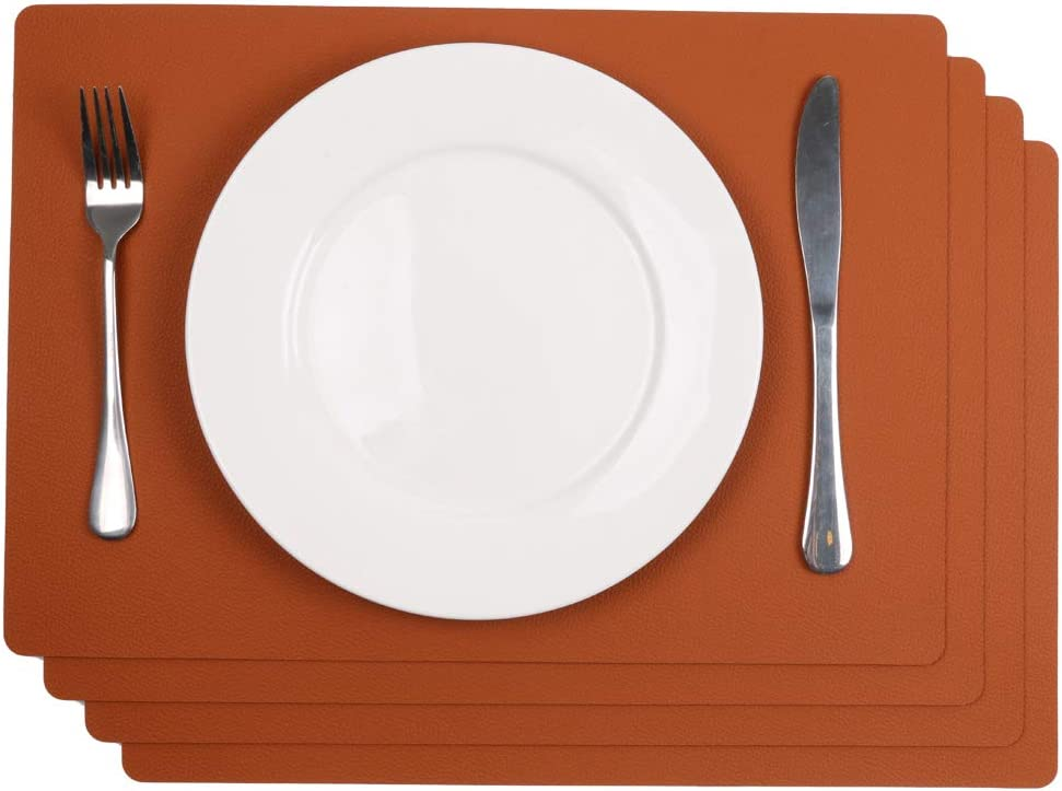 SHACOS 4er Set Tischset Pu Leder Platzset Blaugrau Waschbar Tischset rutschfest Abwaschbar 43x30cm Leder Platzdeckchen Blau Ideal f/ür K/üche Fest usw.