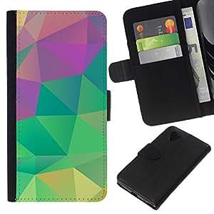 Planetar® Modelo colorido cuero carpeta tirón caso cubierta piel Holster Funda protección Para LG Google NEXUS 5 / E980 / D820 / D821 ( Teal Pink Green Yellow )