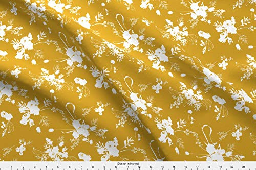 Spring Fabric - Summer Yellow and White Mustard Floral Mustard Floral Bouquet - by Nouveau Bohemian Printed on Basic Cotton Ultra Fabric by The Yard ()