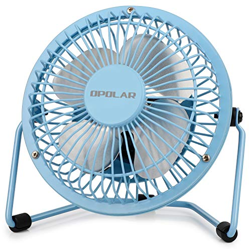 (OPOLAR Mini USB Desk Fan ,USB Powered, Metal Design, Quiet Operation; 3.9 ft USB Cord, Handheld Size, Power Saving , Personal Table Fan for Home and Office-Blue )