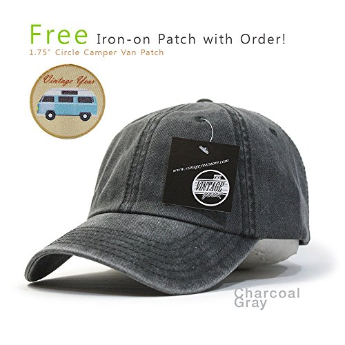 Vintage Washed Cotton Adjustable Baseball Cap + FREE Sew/Iron on Camper Patch (Charcoal Gray B)