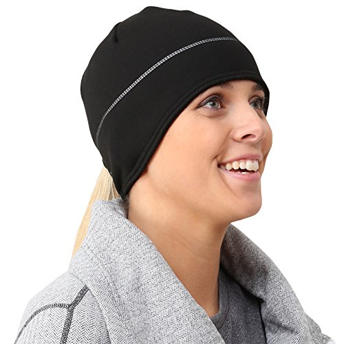 TrailHeads Women's Power Ponytail Hat - Reflective Winter Running Beanie - black/silver