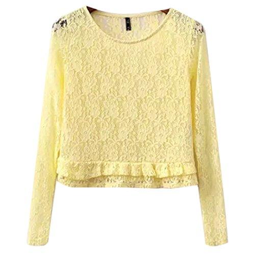 QIYUN.Z Las Mujeres De La Caida Del Cordon Invierno Que Basa La Camisa Corta Camiseta De Manga Larga Cuello Redondo Amarillo