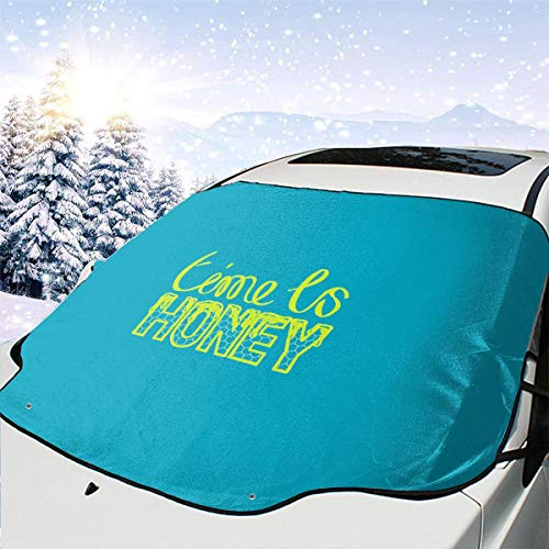 Time is Honey Beekeeper Car Front Windshield Cover 147 * 118cm Coated Waterproof Fabric with A 25 * 15cm Beaded Bag Easy Installation No Installation Tools are Required. -