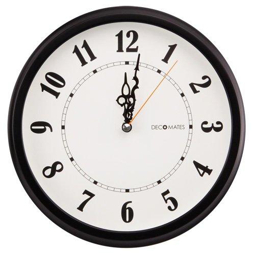 DecoMates Non-Ticking Silent Wall Clock, Classic, Black/White