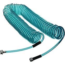 Plastair SpringHose PUW650B9-M-3OT-AMZ Light Polyurethane Lead Free Drinking Water Safe Marine/RV Recoil Hose, Blue Translucent, 3/8-Inch by 50-Foot