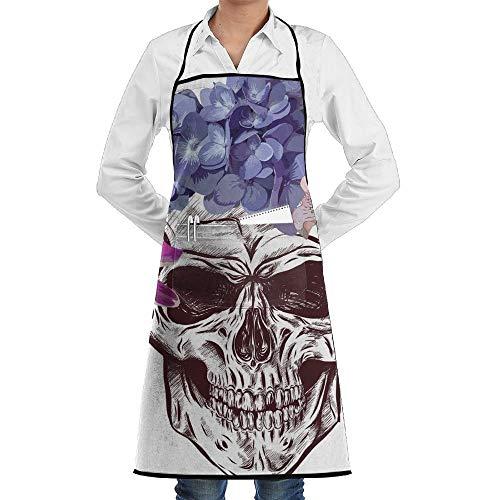 Yohafke Grill Aprons Kitchen Chef Bib Halloween Skeleton Skull with Flower Kitchen Cooking Aprons with 2 Pockets for Women and Men-Adjustable Neck Strap Apron