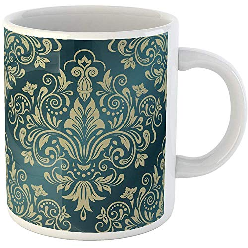 Personalized 11 Ounces Funny Coffee Mug Damask Floral Pattern Renaissance Rococo Abstract Antique Baroque Border Ceramic Coffee Mugs Tea Cup Souvenir