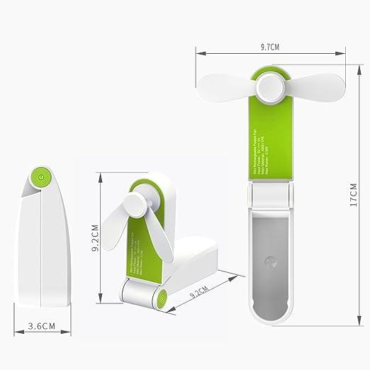 Ventilador de mano fácil de limpiar, USB recargable o funciona con ...