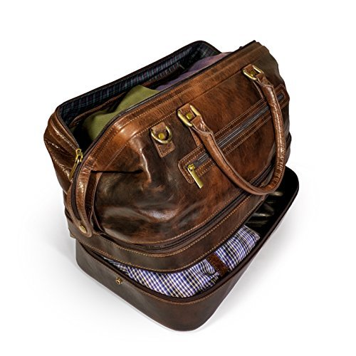 Leather Duffle Adventure Bag Weekender Travel Luggage with Shoe -