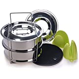 Sotical Stackable Steamer Insert Pans, Instant Pot Accessories for 5/6/8 Qt Food Grade Stainless Steel Cooker Insert for Pressure Cooker,Reheating and Baking