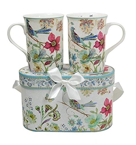 Lightahead Elegant Bone China Two Mugs set in Blue bird design 11.2 oz each cup in attractive gift box - Dishwasher Safe Fine China Mug