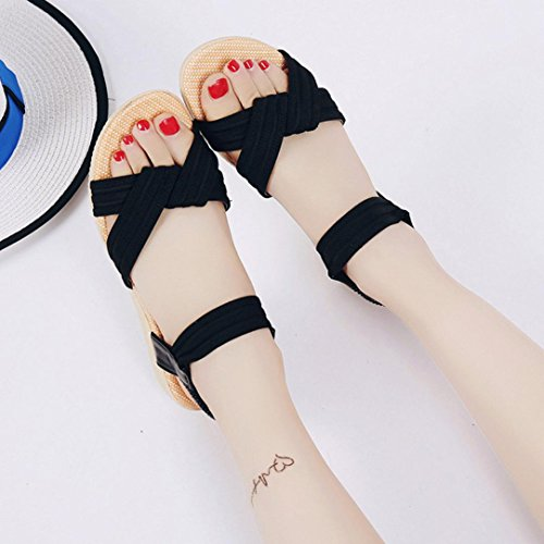 Transer® Ladies Flat Sandals- Women Summer Roman Sandals Leisure Comfy Shoes Black oTl0eK