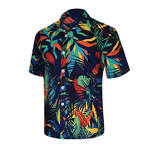 Men's Shirts Casual Short Sleeve Hawaiian Shirts Tropical Floral Printed Button Down Slim Fit Tops Green