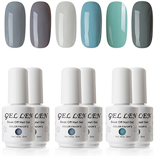 Gellen Cold Gray Series 6 Colors Gel Polish, UV LED Soak Off Gel Nail Set