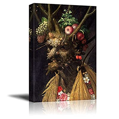 Four Seasons in One Head by Giuseppe Arcimboldo Famous Fine Art Reproduction World Famous Painting Replica on ped Print Wood Framed - Canvas Art Wall Art - 16