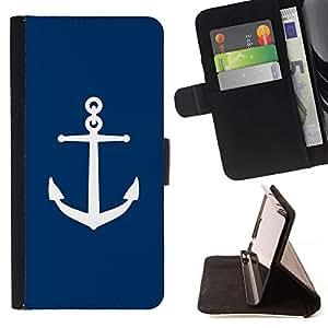 Capitán Azul marino Deep Sea Barco- Modelo colorido cuero de la carpeta del tirón del caso cubierta piel Holster Funda protecció Para Apple iPhone 5 / iPhone 5S