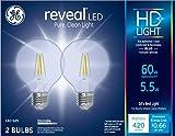 GE Lighting 31858 Clear Finish Light Bulb Dimmable LED Reveal HD G25 Decorative Globe 5.5 (60-Watt Replacement), 420-Lumen Medium Base, 2-Pack,