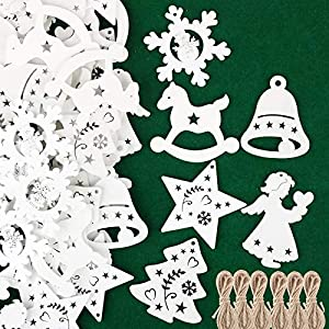 48pz Ciondoli in Legno per Albero di Natale Appesso Decorazioni Natalizie Addobbi Natalizi Ornamenti Feste Angelo Stella Fiocco di Neve Campana Cavallo Bianco 2 spesavip