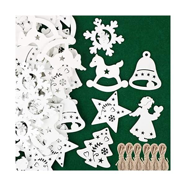 48pz Ciondoli in Legno per Albero di Natale Appesso Decorazioni Natalizie Addobbi Natalizi Ornamenti Feste Angelo Stella Fiocco di Neve Campana Cavallo Bianco 1 spesavip