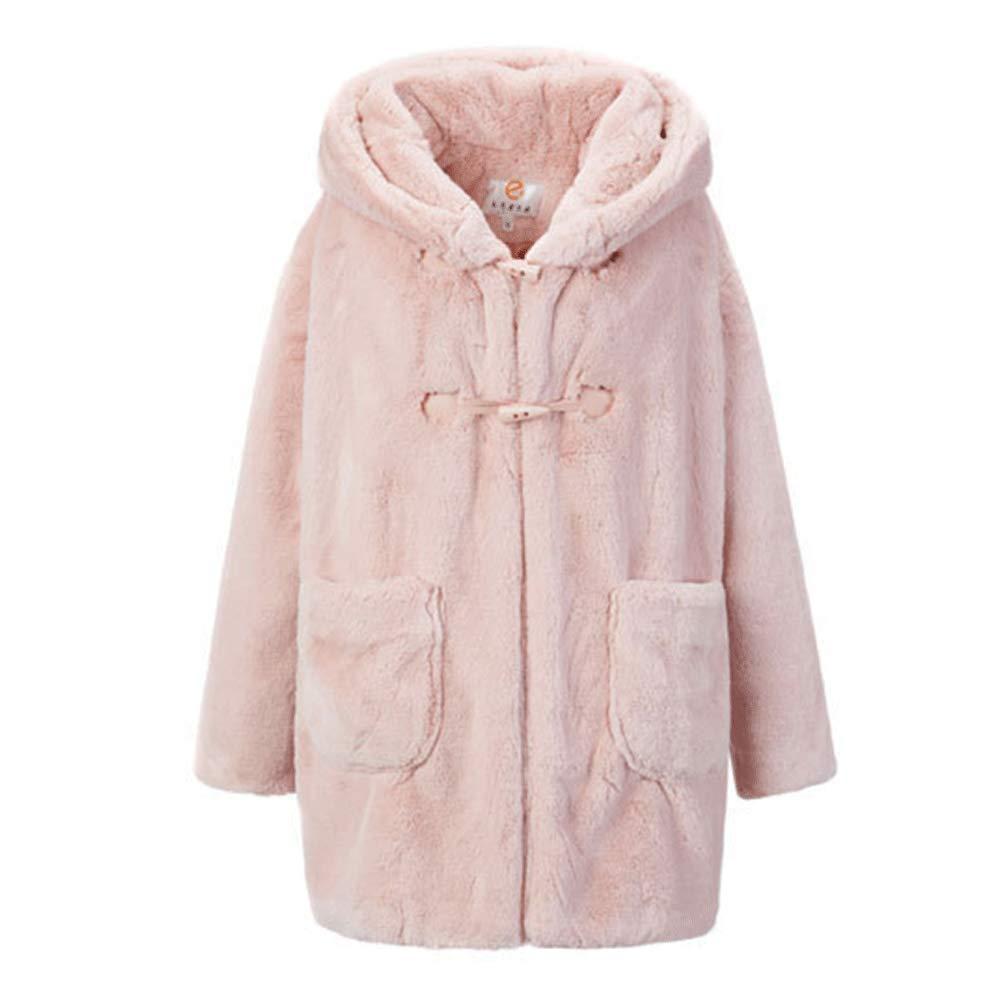 Women's Cute Rabbit Ear Coat Horn Buttons Long Sleeve Winter Hoodie Jacket W_0801FauxFurCoat07