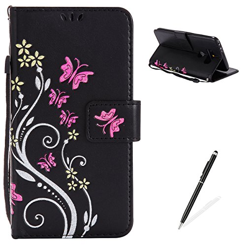 MAGQI LG G5 Case, Premium Slim Fit Flip PU Leather Stand Wallet Book Style Case with Card Slots Magnetic Closure Embossed Rose Flower Butterfly Pattern Cover - Black
