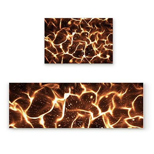 Lightrain Shiny Gold Flare 2 Piece Doormat Hallway Kitchen Runner Rug Carpet (Non-Slip) Rubber Backing Area Rug Set Floor Mat