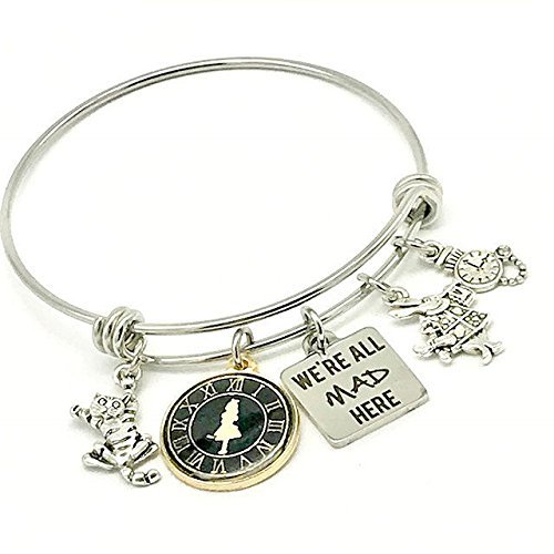 (Alice in Wonderland Inspired, We're All Mad Here Bangle Bracelet Cheshire Cat and White Rabbit)