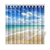 Beach Shower Curtain InterestPrint Beach Ocean Theme Shower Curtain, Wavy Ocean Surface Scenery Polyester Fabric Mildew Resistant And Waterproof Bath Curtains, 72 By 72 Inches Extra Long, Blue Turquoise Sand