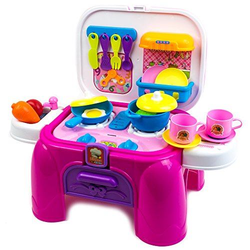 Kitchen Desk Playset, Real action kitchen playset, Kids Toy Kitchen Deluxe Simulation Kitchen Kits Box Case Role Play Set Pretend Play Toys Plastic Portable Playset with Storage Bag/Working Desk.