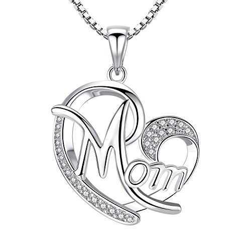 Studiocc Mom Love Heart CZ Pendant Necklace, Gifts for Mom, Mother Necklace, Jewelry for Women, Girls, from Daughter Son, Mom Birthday Gifts, Thanksgiving, Christmas Day Gifts