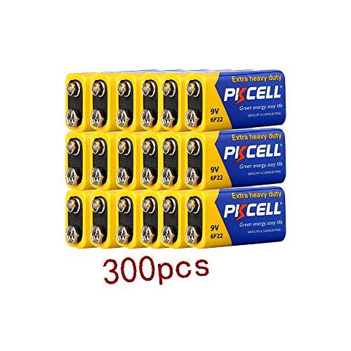 9V 6F22 Super Heavy Duty Battery for Smoke Detector 300pcs ()