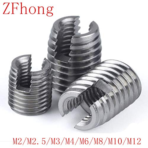 20Pcs 10PCS 5PCS M2 TO M12 Stainless Steel Threaded Inserts Metal Thread Repair Insert Self Tapping Slotted Screw Threaded M12 4PCS by Nuts Clamping