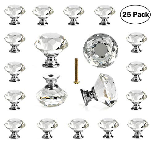 Leaded Glass Cabinets - 25 pcs Crystal Glass Knobs Drawer Pulls for Kitchen Bathroom Cabinet, Dresser and Cupboard by DeElf
